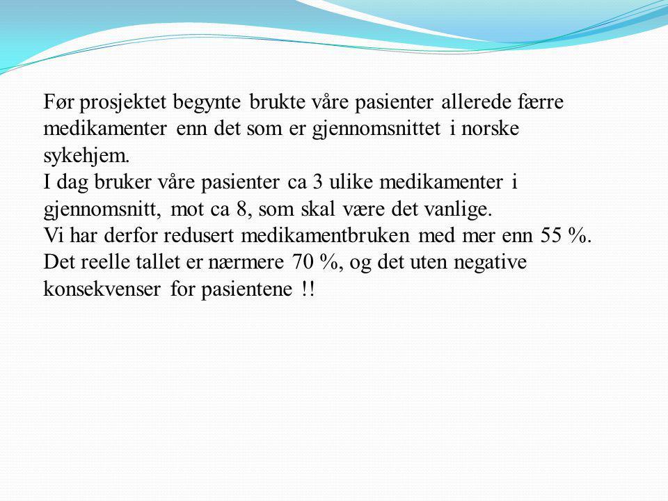 Før prosjektet begynte brukte våre pasienter allerede færre medikamenter enn det som er gjennomsnittet i norske sykehjem.