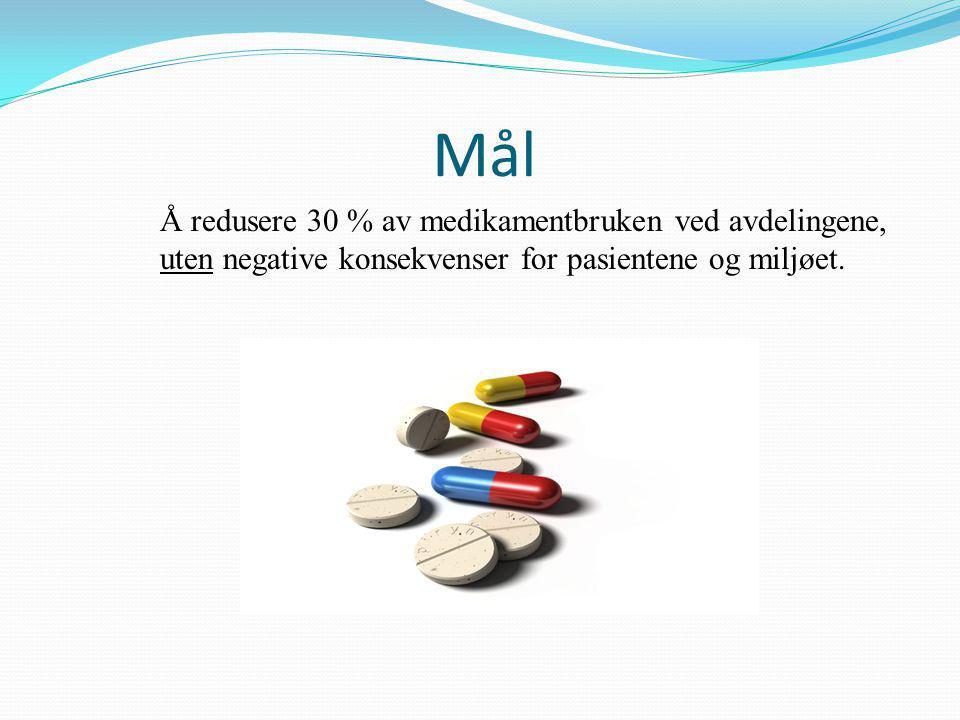 Mål Å redusere 30 % av medikamentbruken ved avdelingene, uten negative konsekvenser for pasientene og miljøet.