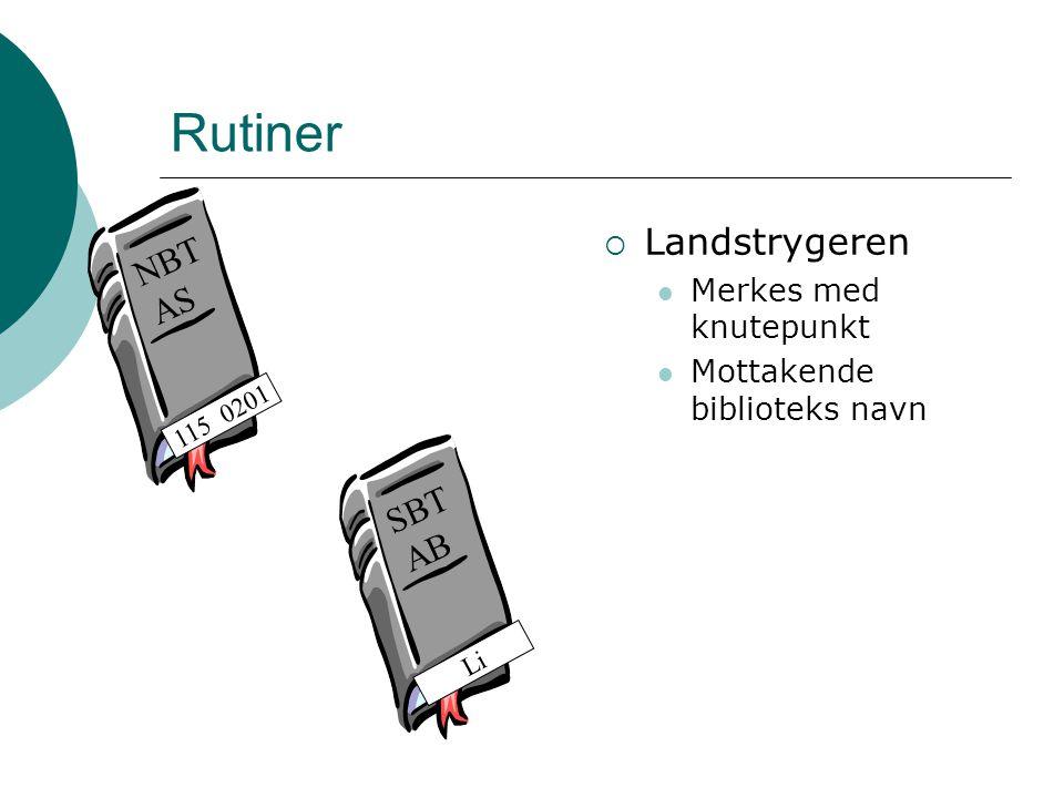 Rutiner Landstrygeren NBT AS SBT AB Merkes med knutepunkt