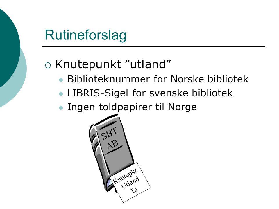 Rutineforslag Knutepunkt utland Biblioteknummer for Norske bibliotek
