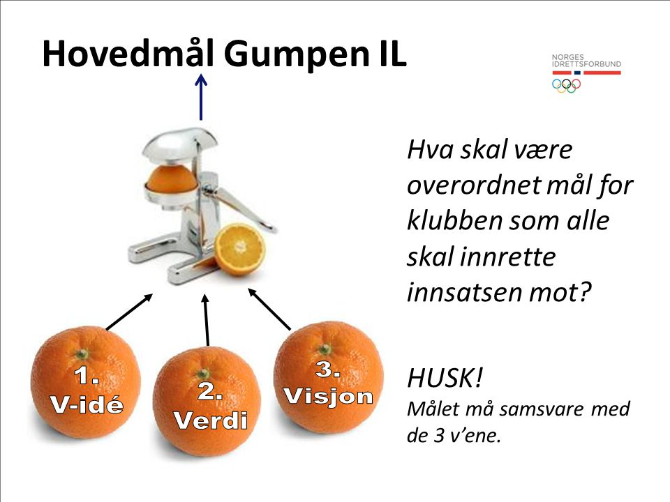 Hovedmål Gumpen IL 3. 1. 2. Visjon V-idé Verdi