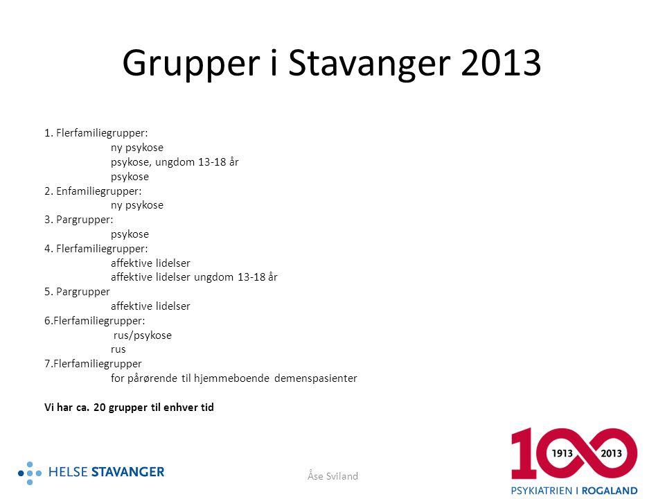 Grupper i Stavanger 2013 1. Flerfamiliegrupper: ny psykose