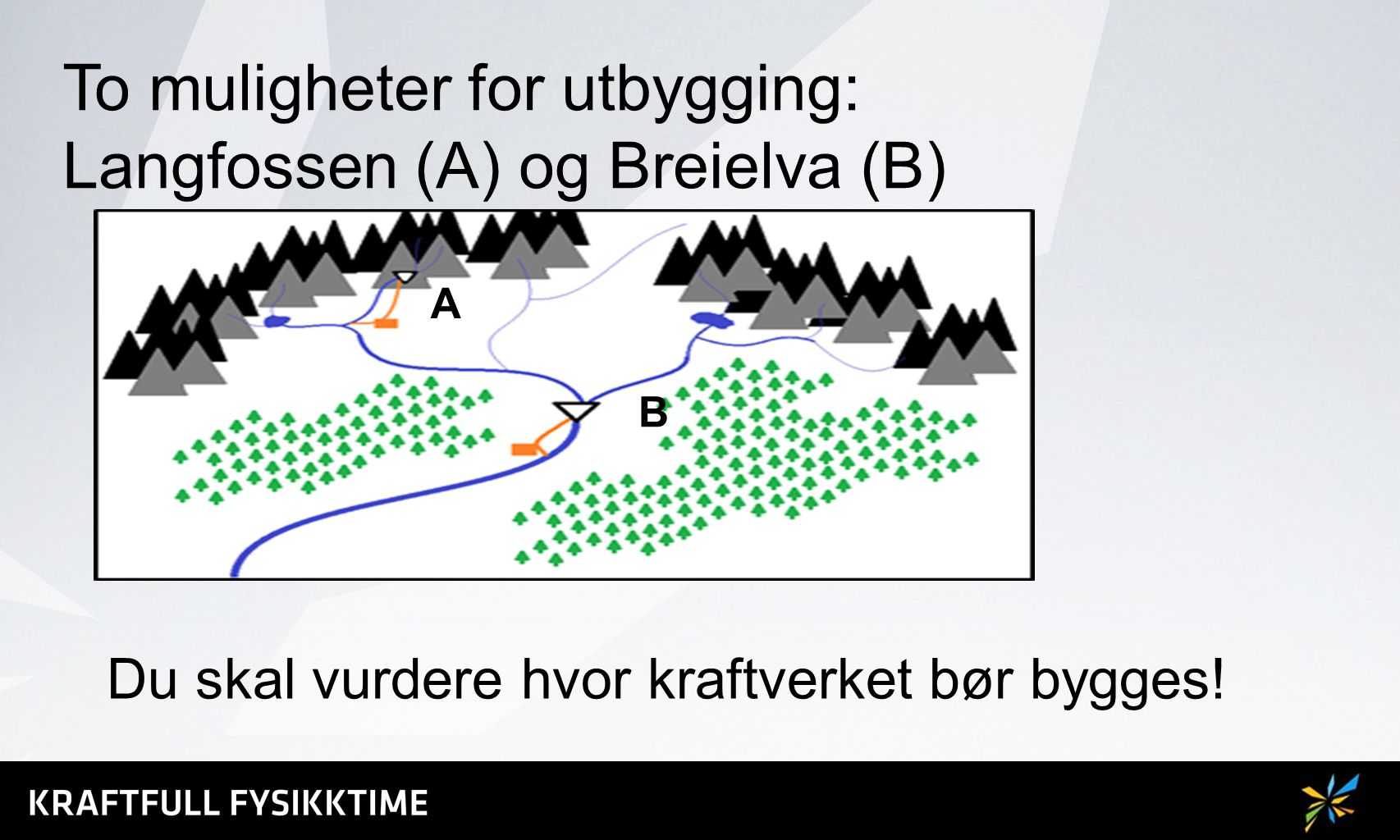 To muligheter for utbygging: Langfossen (A) og Breielva (B)