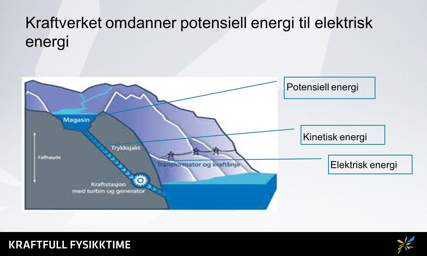 Kraftverket omdanner potensiell energi til elektrisk energi