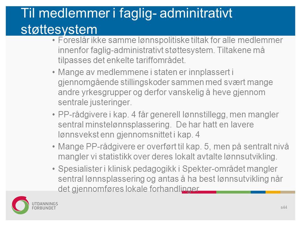 Til medlemmer i faglig- adminitrativt støttesystem
