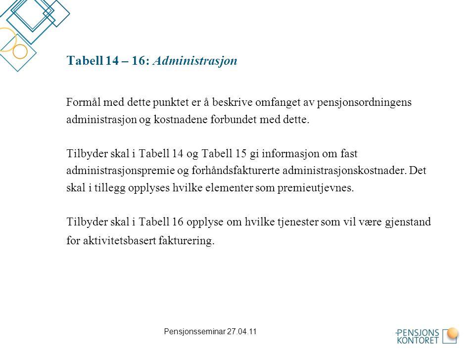 Tabell 14 – 16: Administrasjon