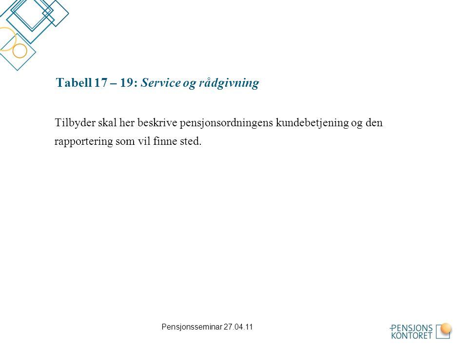 Tabell 17 – 19: Service og rådgivning