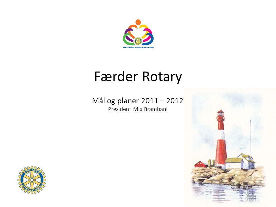 Færder Rotary Mål og planer 2011 – 2012 President Mia Brambani