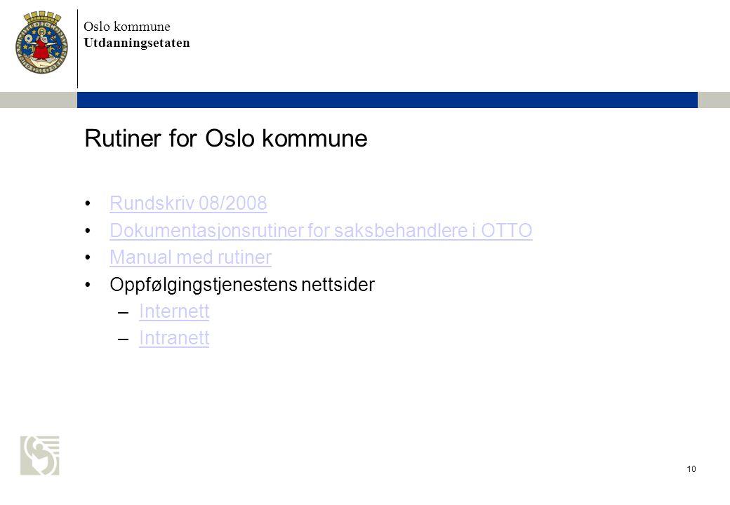 Rutiner for Oslo kommune