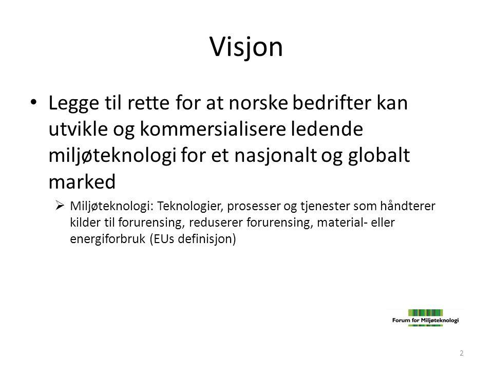 Visjon Legge til rette for at norske bedrifter kan utvikle og kommersialisere ledende miljøteknologi for et nasjonalt og globalt marked.