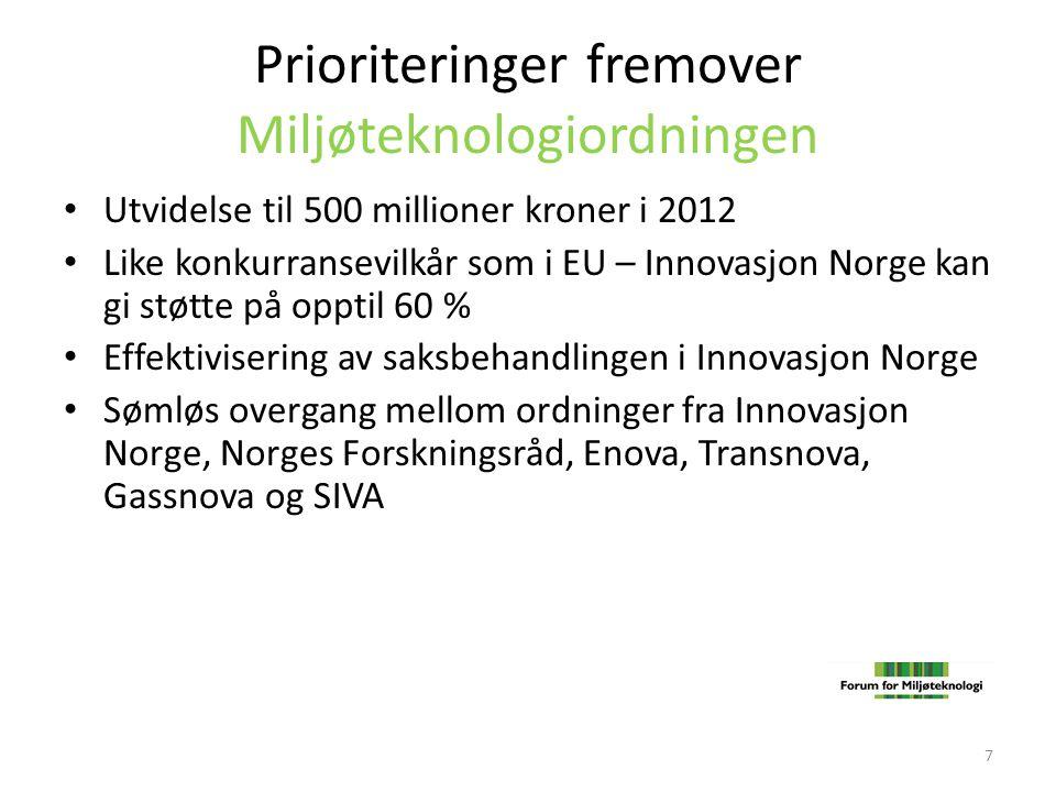 Prioriteringer fremover Miljøteknologiordningen