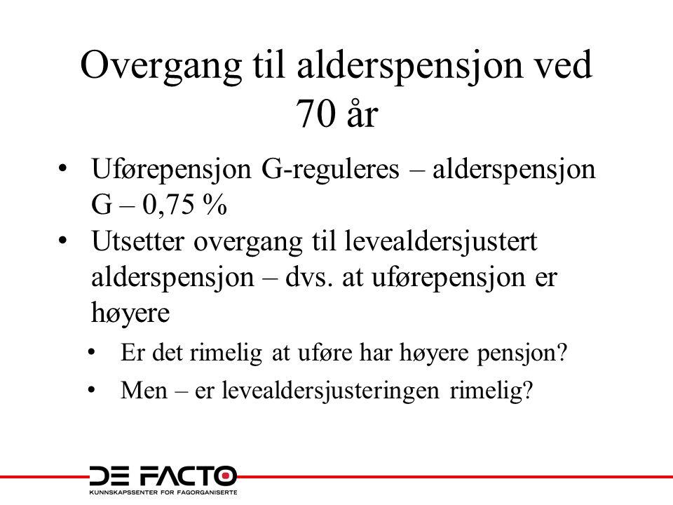 Overgang til alderspensjon ved 70 år