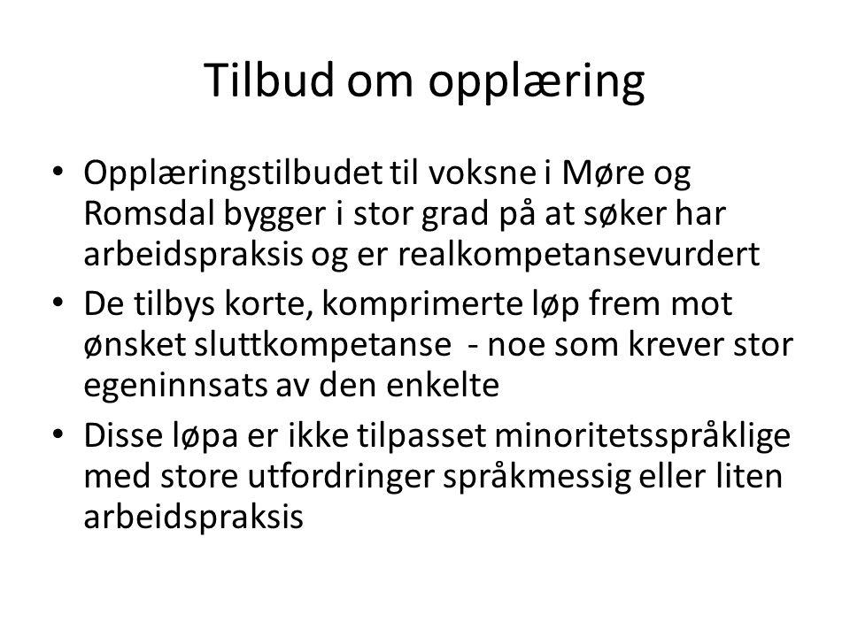 Tilbud om opplæring Opplæringstilbudet til voksne i Møre og Romsdal bygger i stor grad på at søker har arbeidspraksis og er realkompetansevurdert.