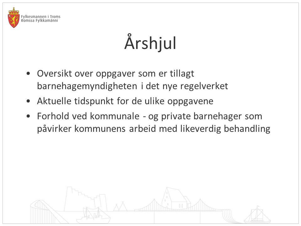 03.04.2017 Årshjul. Oversikt over oppgaver som er tillagt barnehagemyndigheten i det nye regelverket.