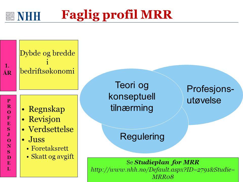 Faglig profil MRR Teori og konseptuell tilnærming Profesjons- utøvelse
