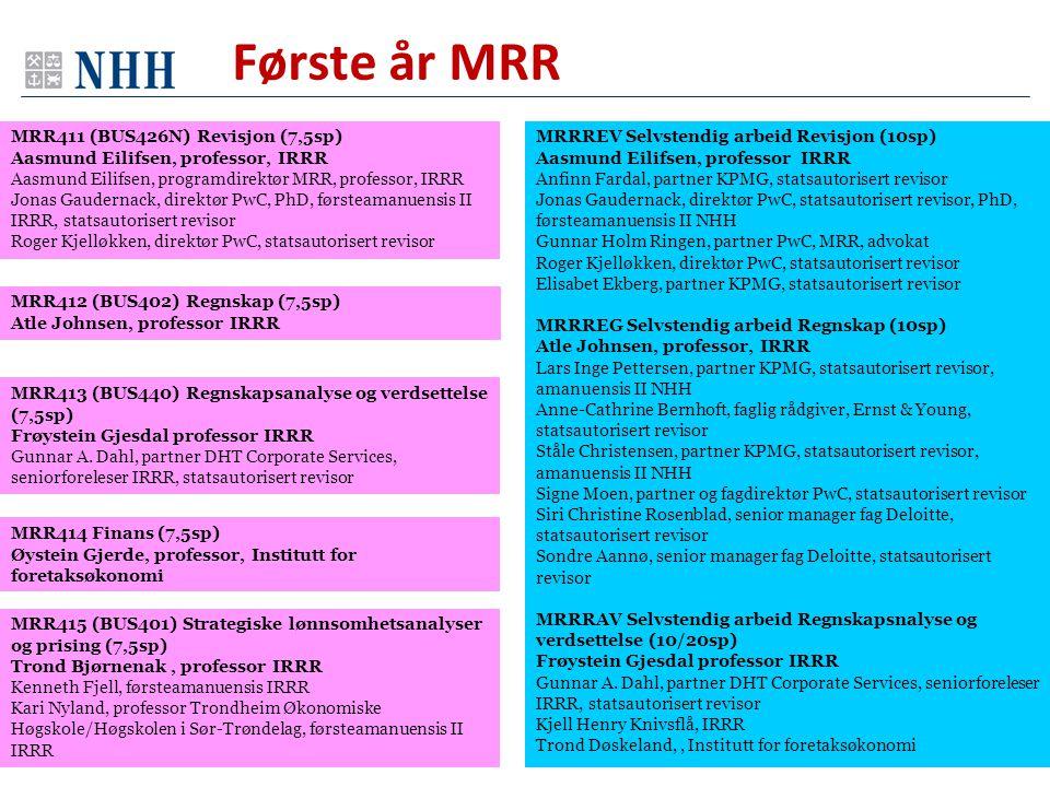 Første år MRR MRR411 (BUS426N) Revisjon (7,5sp)