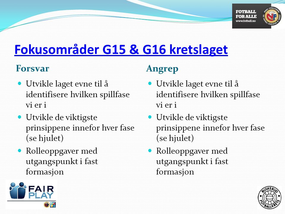 Fokusområder G15 & G16 kretslaget