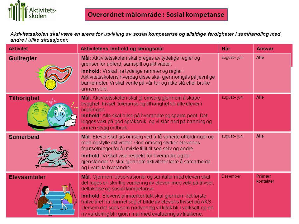 Overordnet målområde : Sosial kompetanse