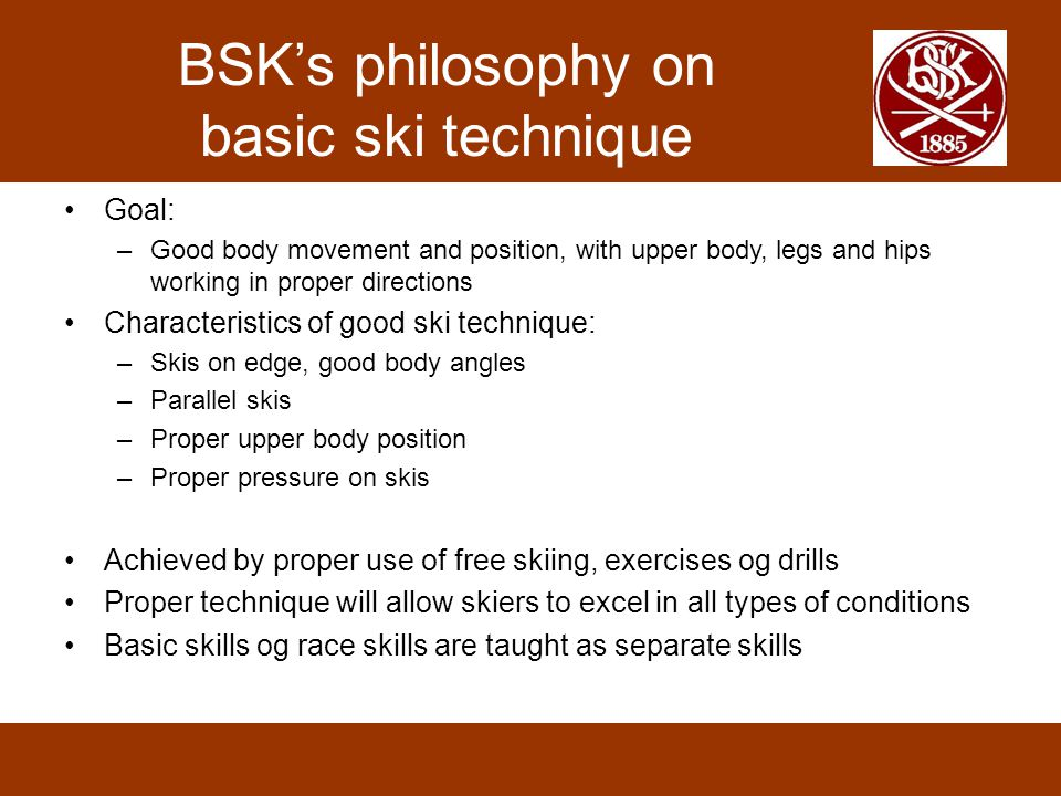 BSK's philosophy on basic ski technique
