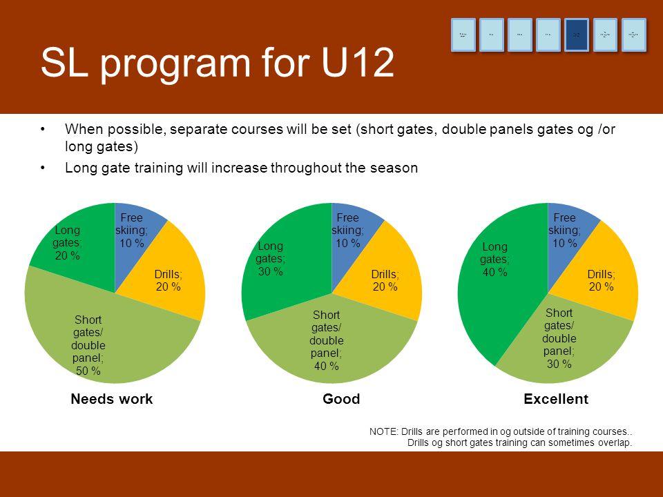 8 år og yngre 9 år. 10 år. 11 år. (12 år) Pre-TL. (13 og 14 år) TL. (15 og 16 år) HL. SL program for U12.