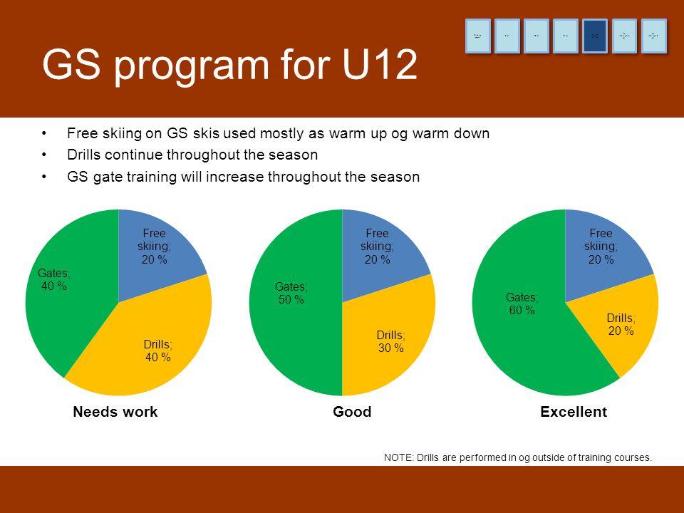 8 år og yngre 9 år. 10 år. 11 år. (12 år) Pre-TL. (13 og 14 år) TL. (15 og 16 år) HL. GS program for U12.