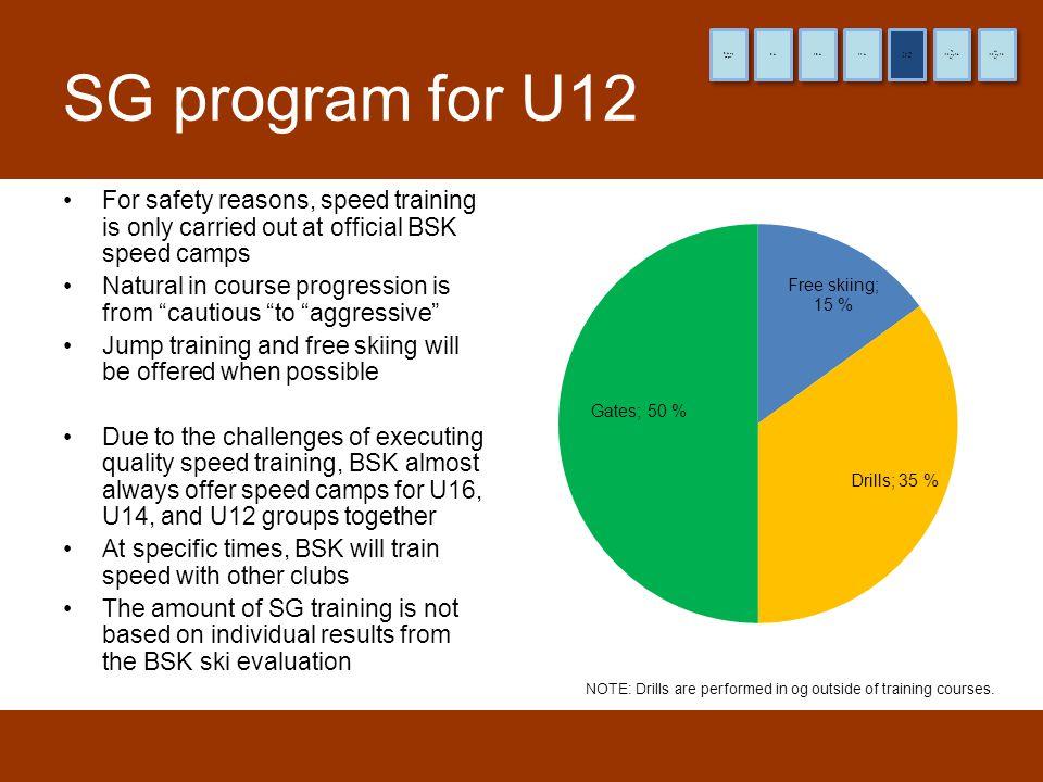 8 år og yngre 9 år. 10 år. 11 år. (12 år) Pre-TL. (13 og 14 år) TL. (15 og 16 år) HL. SG program for U12.