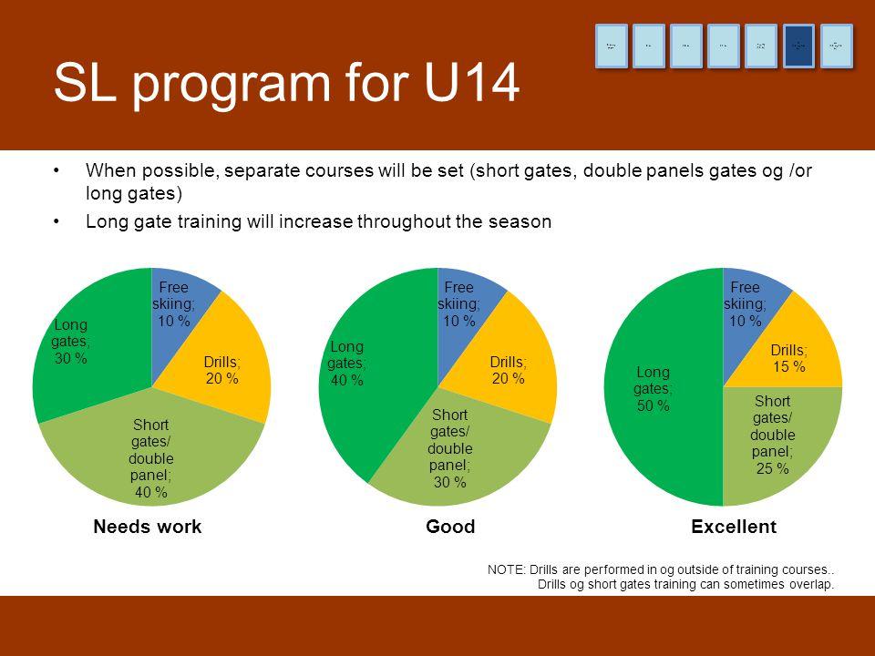 8 år og yngre 9 år. 10 år. 11 år. (12 år) Pre-TL. (13 og 14 år) TL. (15 og 16 år) HL. SL program for U14.
