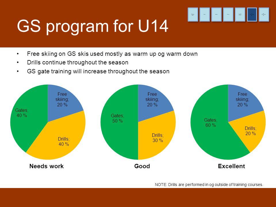8 år og yngre 9 år. 10 år. 11 år. (12 år) Pre-TL. (13 og 14 år) TL. (15 og 16 år) HL. GS program for U14.