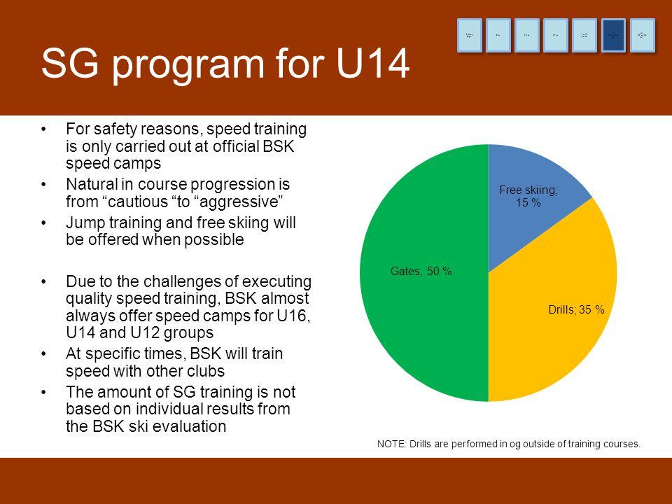 8 år og yngre 9 år. 10 år. 11 år. (12 år) Pre-TL. (13 og 14 år) TL. (15 og 16 år) HL. SG program for U14.