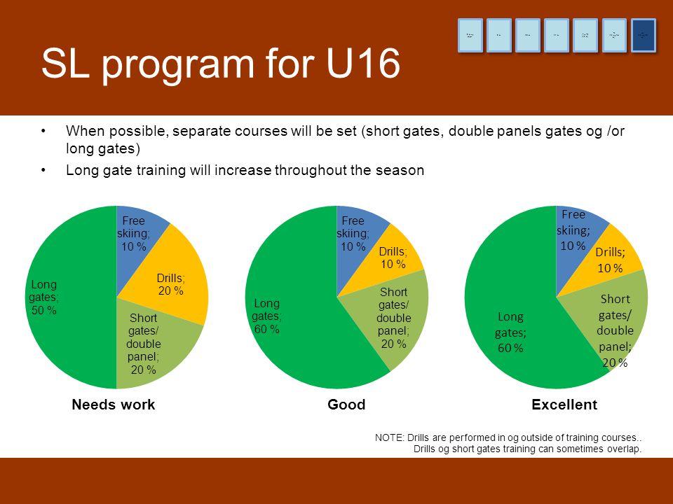 8 år og yngre 9 år. 10 år. 11 år. (12 år) Pre-TL. (13 og 14 år) TL. (15 og 16 år) HL. SL program for U16.