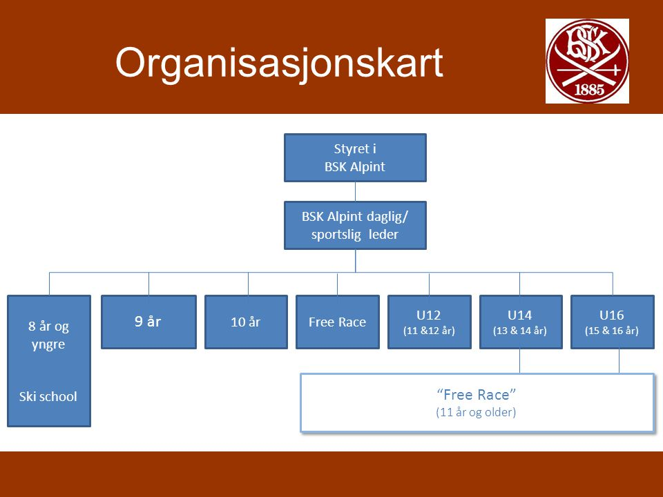 Organisasjonskart 9 år Free Race Styret i BSK Alpint