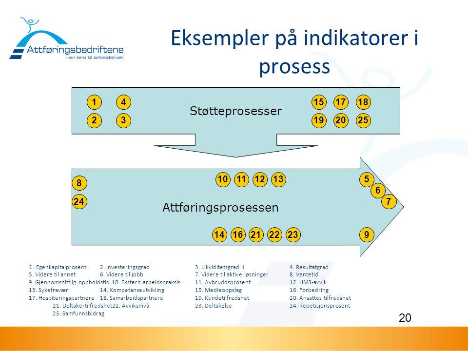 Eksempler på indikatorer i prosess