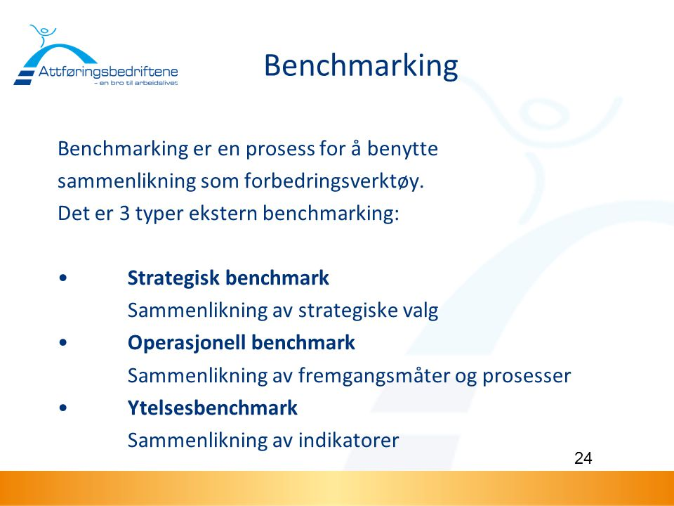 Benchmarking Benchmarking er en prosess for å benytte