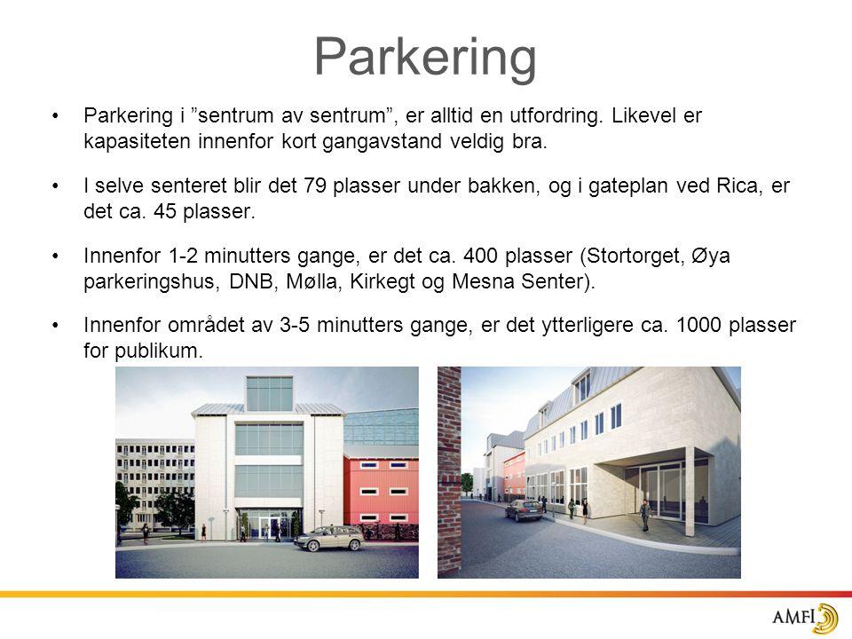 Parkering Parkering i sentrum av sentrum , er alltid en utfordring. Likevel er kapasiteten innenfor kort gangavstand veldig bra.