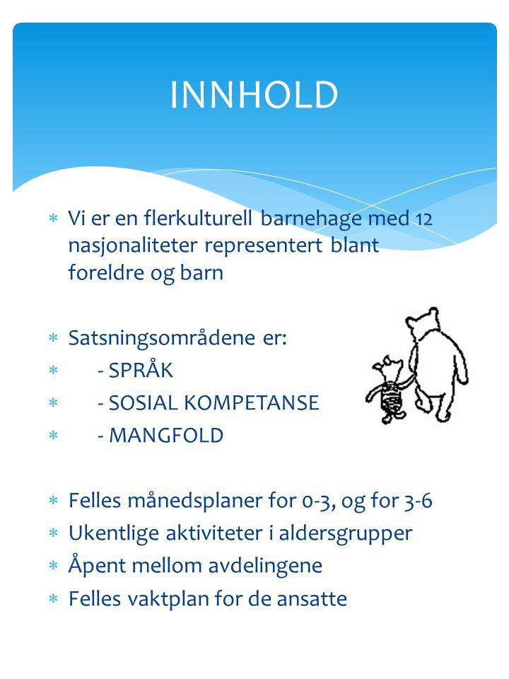 INNHOLD Vi er en flerkulturell barnehage med 12 nasjonaliteter representert blant foreldre og barn.