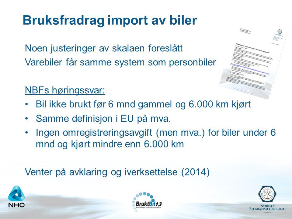 Bruksfradrag import av biler