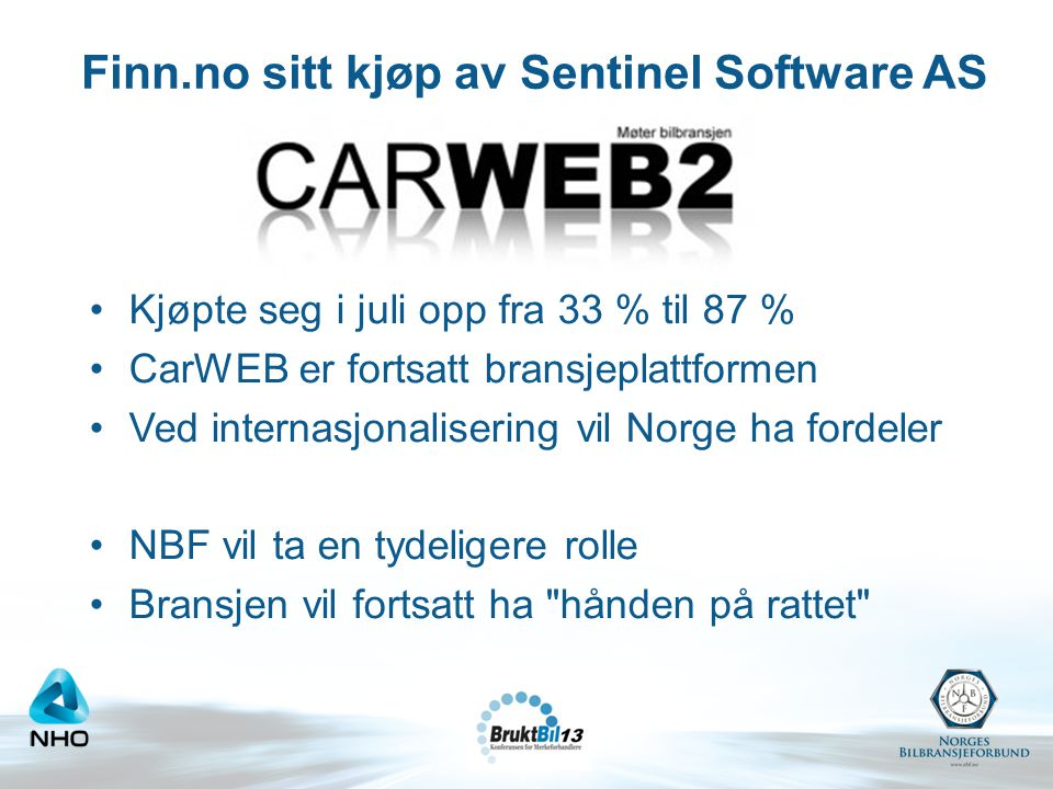 Finn.no sitt kjøp av Sentinel Software AS