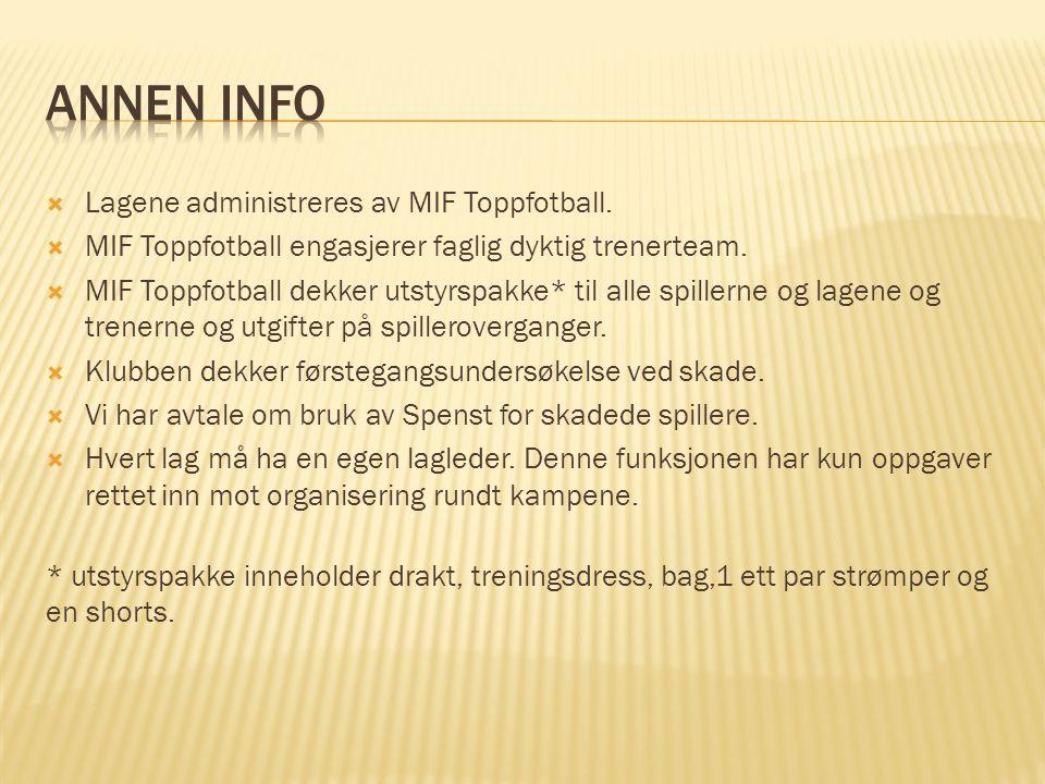 Annen info Lagene administreres av MIF Toppfotball.