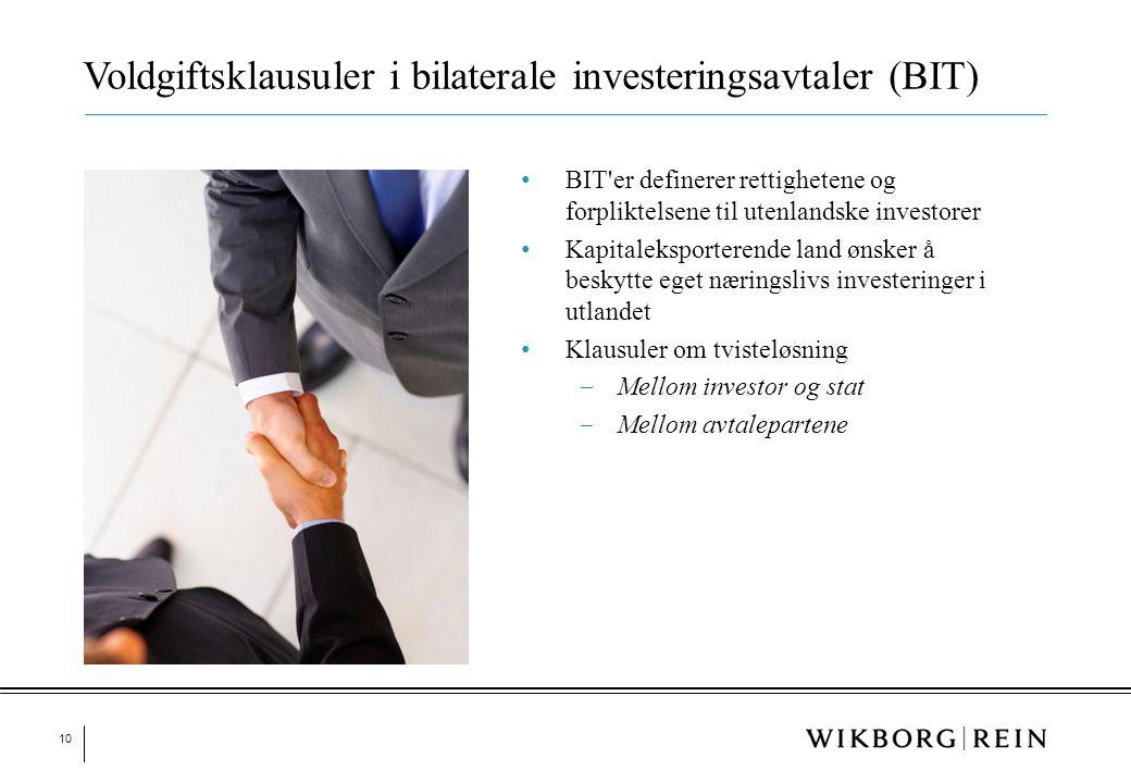 Voldgiftsklausuler i bilaterale investeringsavtaler (BIT)