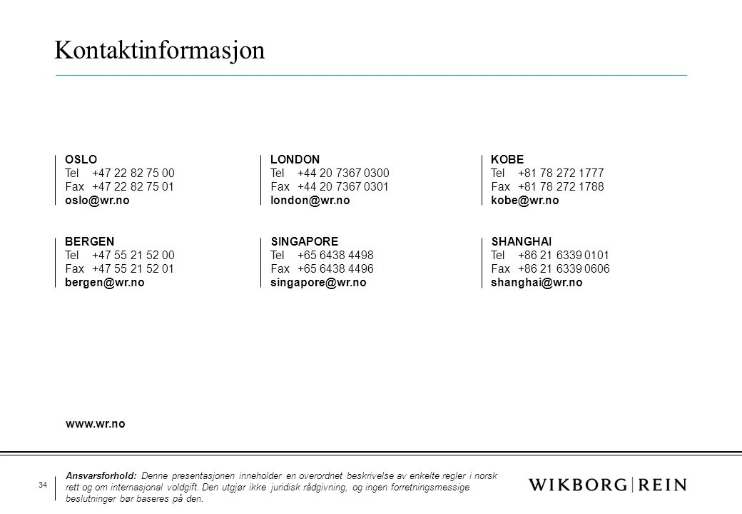 Kontaktinformasjon OSLO Tel +47 22 82 75 00