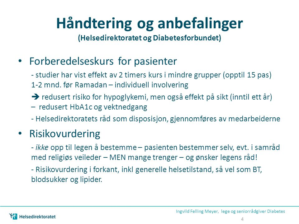 Håndtering og anbefalinger (Helsedirektoratet og Diabetesforbundet)