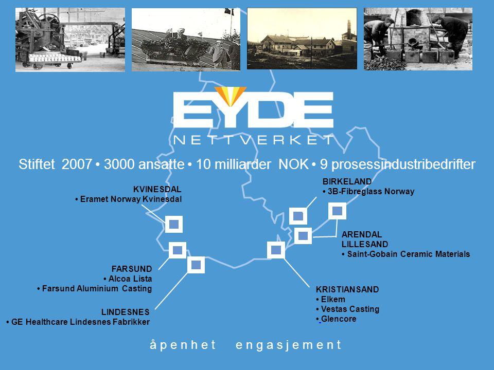 Stiftet 2007 • 3000 ansatte • 10 milliarder NOK • 9 prosessindustribedrifter