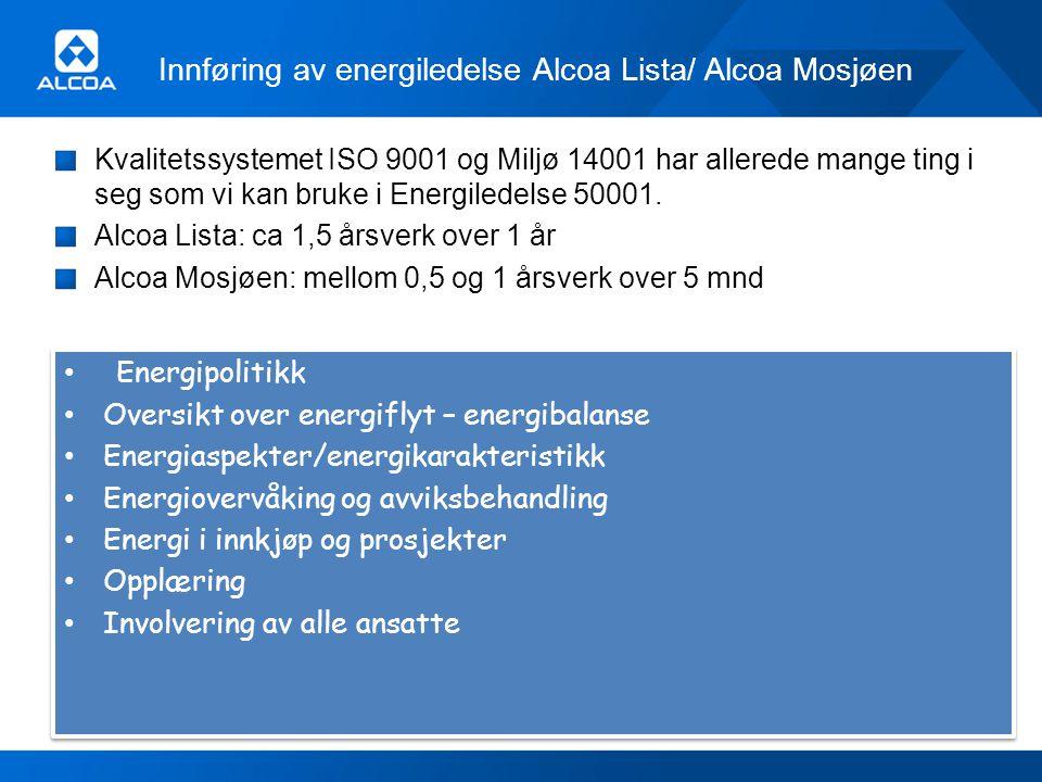 Innføring av energiledelse Alcoa Lista/ Alcoa Mosjøen