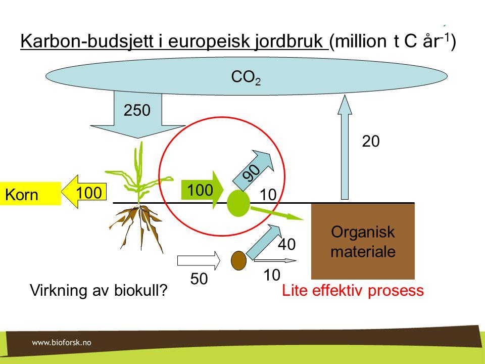 Karbon-budsjett i europeisk jordbruk (million t C år-1)