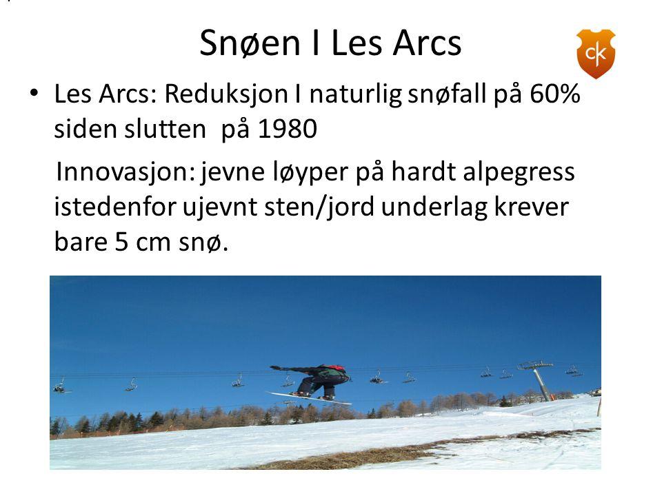 thomas-foster.com . Snøen I Les Arcs. Les Arcs: Reduksjon I naturlig snøfall på 60% siden slutten på 1980.