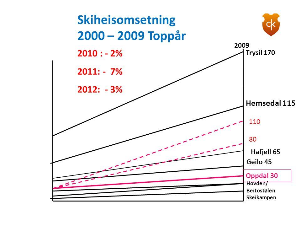 Skiheisomsetning 2000 – 2009 Toppår