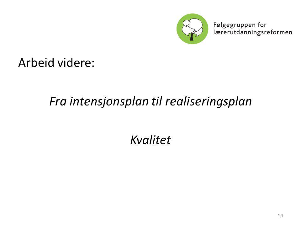 Arbeid videre: Fra intensjonsplan til realiseringsplan Kvalitet