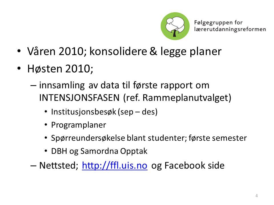 Våren 2010; konsolidere & legge planer Høsten 2010;