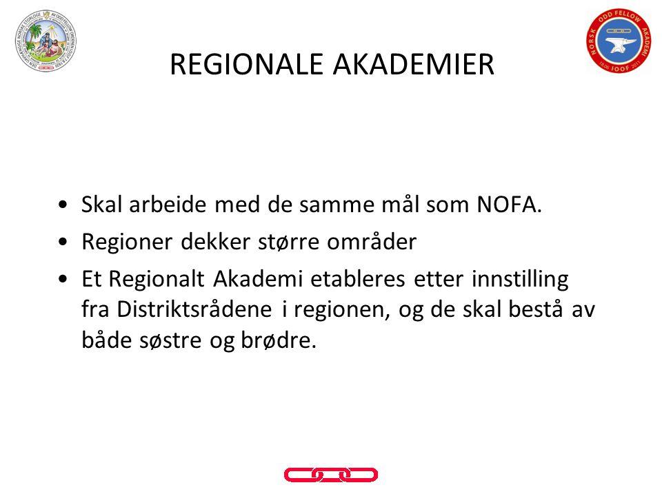 REGIONALE AKADEMIER Skal arbeide med de samme mål som NOFA.