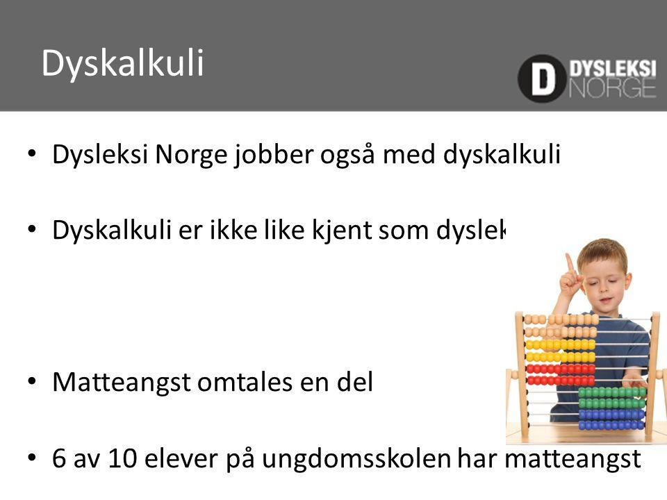 Dyskalkuli Dysleksi Norge jobber også med dyskalkuli